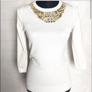 Chelsea & Theodore bejeweled crew neck sweater